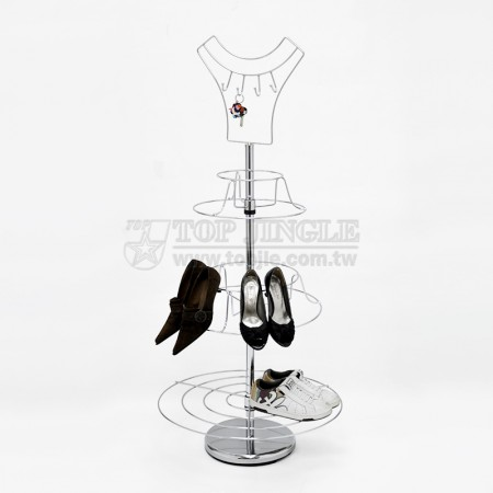 鐵線衣服造型四勾,三層旋轉鞋架