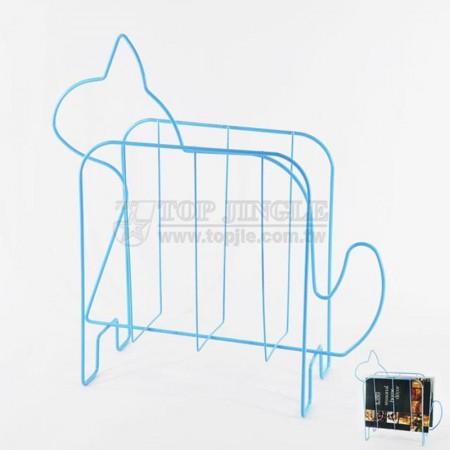 藍色鐵線小貓造型雜誌架