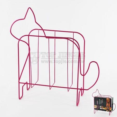 桃紅色鐵線小貓造型雜誌架