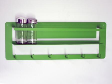 綠色鎖壁鐵板8入調味罐,六勾架