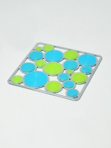 雙色矽膠圈圈四方造型隔熱墊
