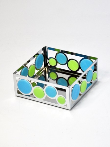 雙色矽膠圈圈四方造型平放式餐巾紙架