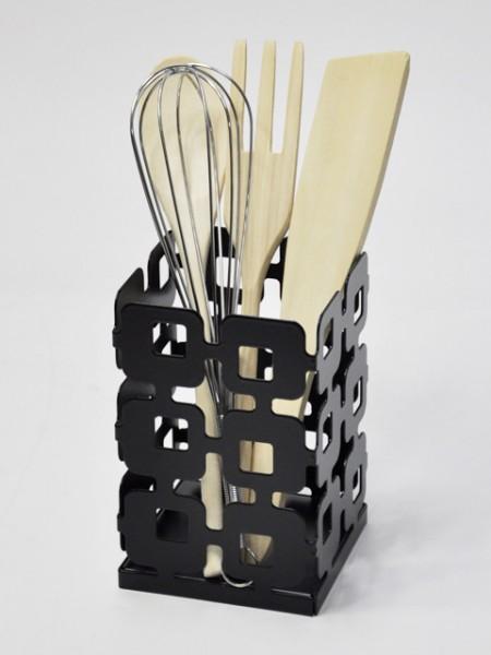 黑色方型縷空廚具桶