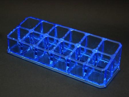 透明藍小長方12格口紅格