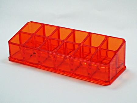 透明紅小斜長方形12格口紅格