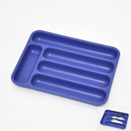 藍色長方塑膠5格刀叉籃