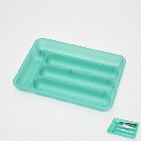 綠色長方塑膠5格刀叉籃