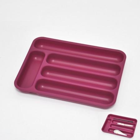 桃紅色長方塑膠5格刀叉籃
