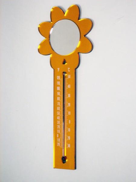 可磁吸的太陽花造型溫度計,鏡子
