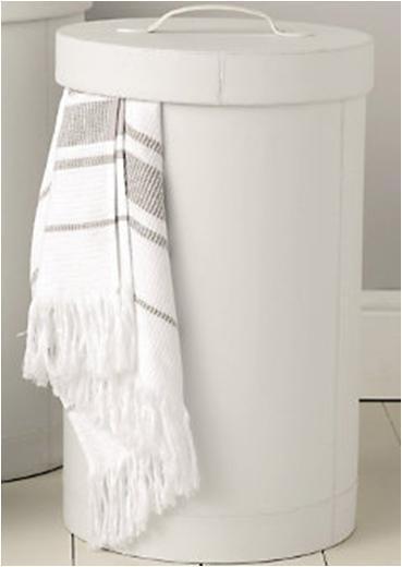 Cylinder White Laundry Hamper