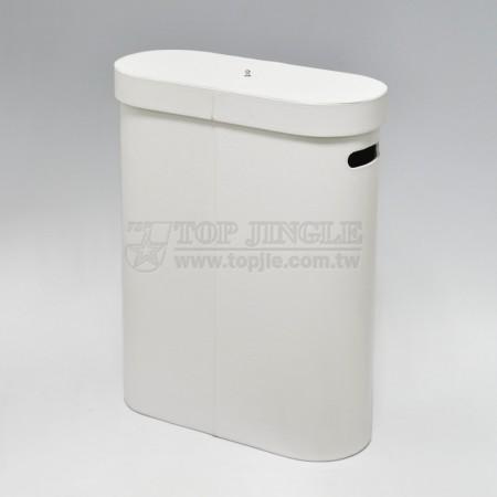 White Leather Laundry Hamper