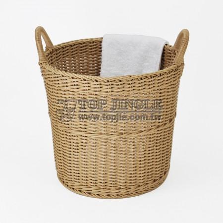 塑膠藤編造型手把圓錐型髒衣籃