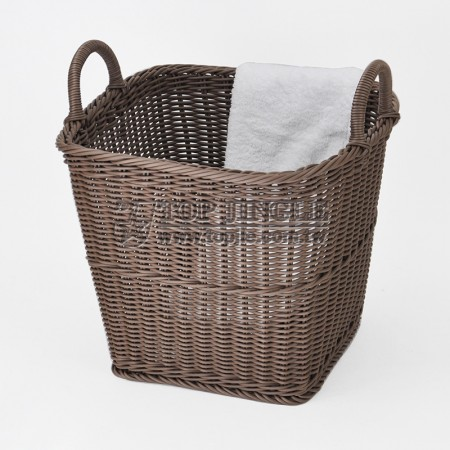 塑膠藤編造型手把四方錐型髒衣籃