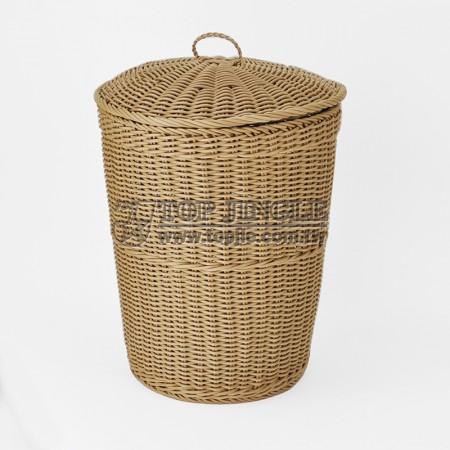 塑膠藤編造型圓錐有蓋髒衣籃