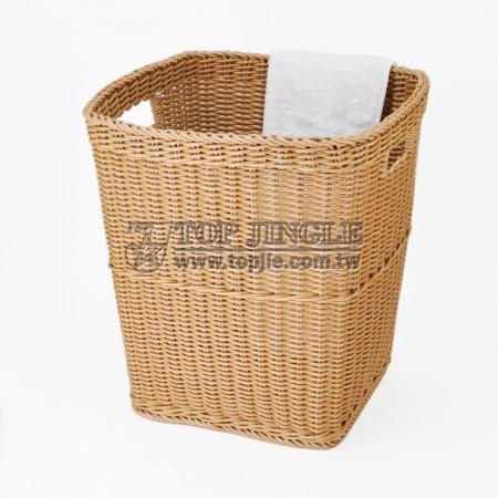 塑膠藤編長方錐型髒衣籃