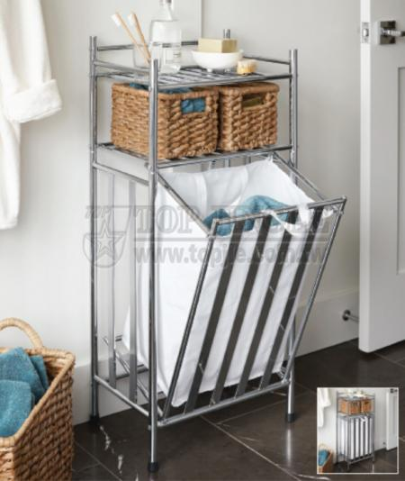 2-Tier Storage Rack with Laundry Basket