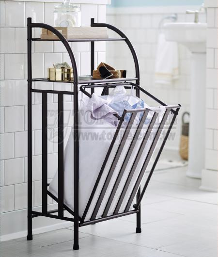 2-Tier Shelf Rack with Laundry Basket