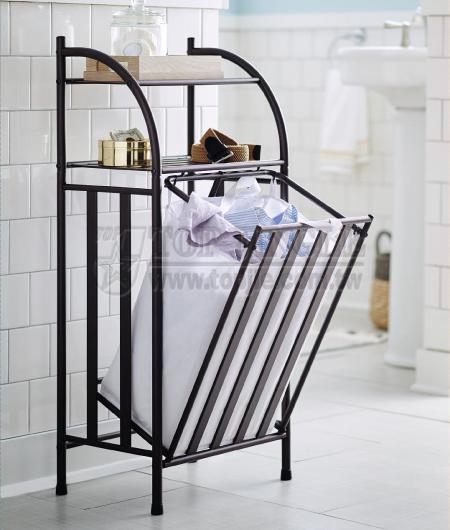 2-Tier Shelf Rack with Laundry Basket