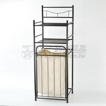 2-Tier Storage Rack with Laundry Basket