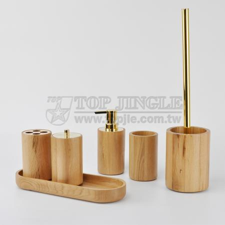 Oak Bathroom Accessories Set