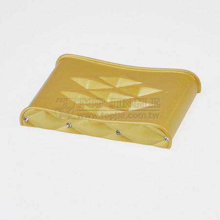 菱格紋鑲鑽造型長方曲線肥皂盤