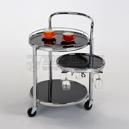 2-Tier Glass Rotatable Serving Trolley