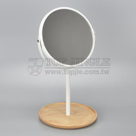 Double Side Standing Mirror With Wood Tray