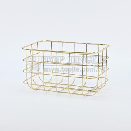 Golden Metal Wire Storage Basket - Medium