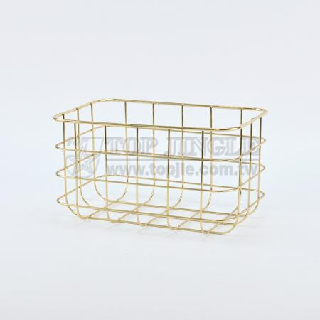 Golden Metal Wire Storage Basket - Medium
