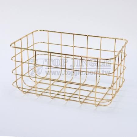 Golden Metal Wire Storage Basket - Large