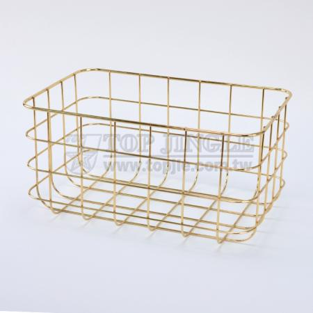 Golden Metal Wire Storage Basket - Large