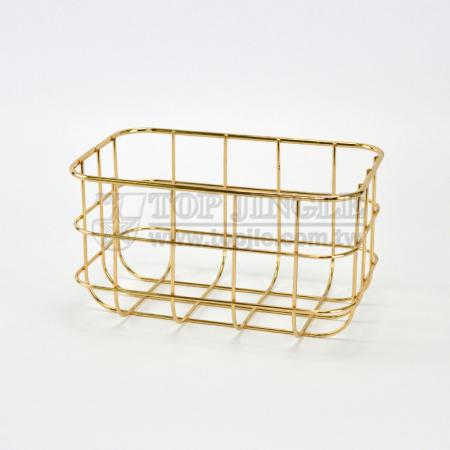 Golden Metal Wire Storage Basket - Small