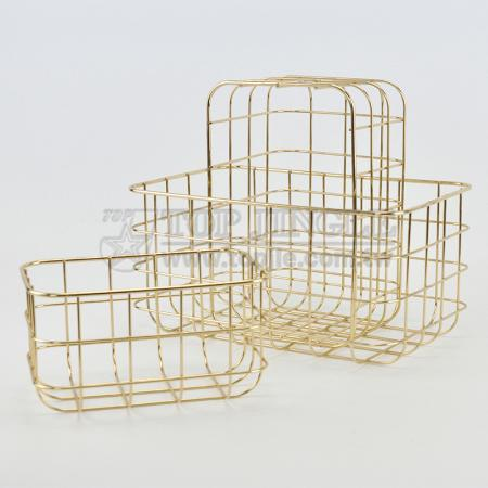 Golden Metal Wire Storage Basket Set