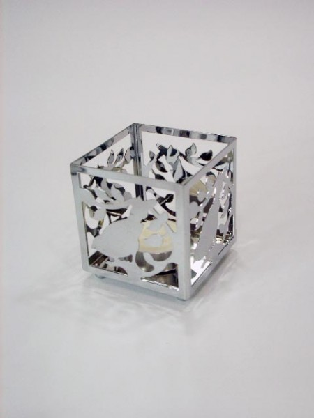 Portacandele in metallo con design a forma di libellula
