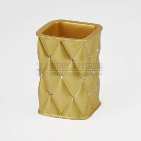 菱格紋鑲鑽造型四方漱口杯