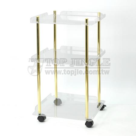 Acrylic Square Tray Trolley Cart