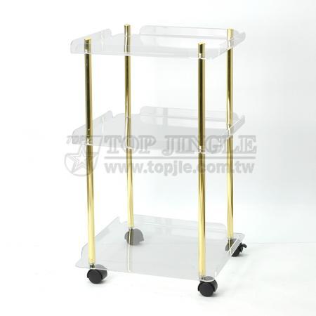 Acrylic Square Tray Trolley Cart
