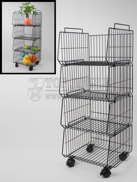 4-Tier Basket Trolley