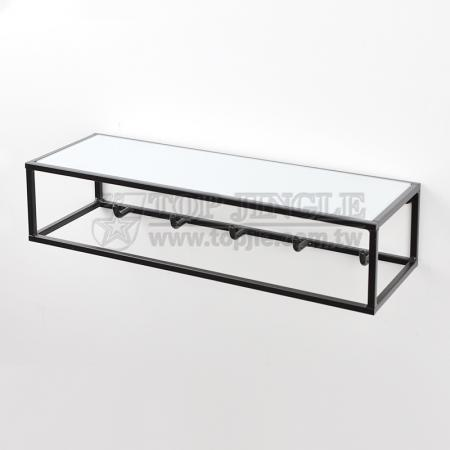 Wall Mounted Glass Shelf with Hooks