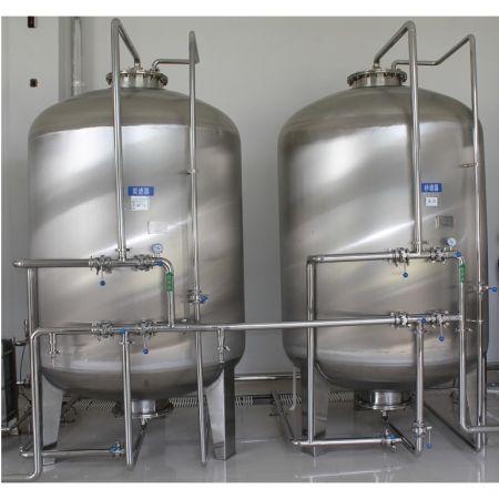 純水-前處理系統 - 多介質砂過濾(石英砂)&活性碳過濾&老化