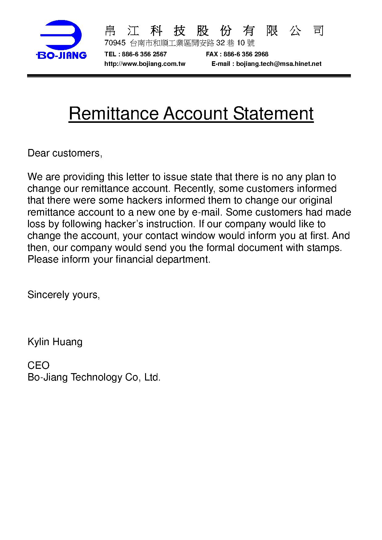Remittance Account Statement Bo Jiang News And Events Bo Jiang