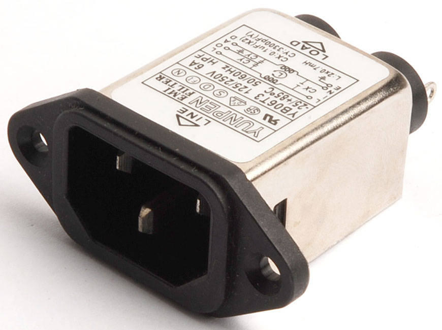 Solder lug terminal and horizontal mounting ears YB-T3 integrates an IEC inlet type C14 and filter with noise suppression.