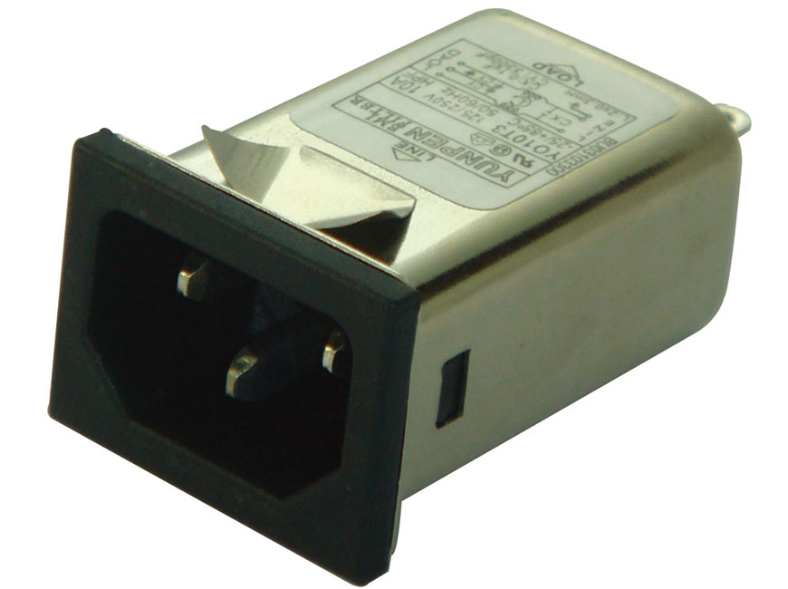 Solder lug terminal and snap-in vertically YO-T1-BU integrates an IEC inlet type C14 and filter with noise suppression in a slim form factor.