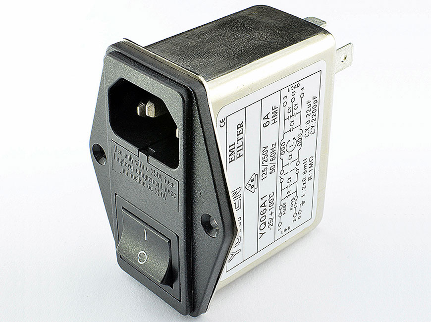 Power entry model filters with an IEC inlet, a mains filter with dual-fuse holder and a 2-pole rocker switch.