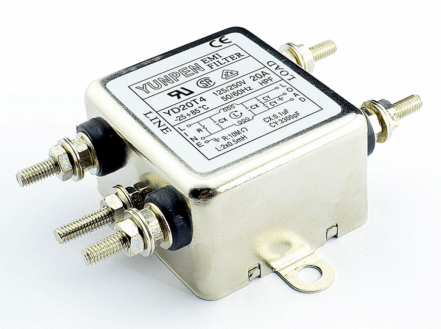 M4 screw terminal YD-T4 is the single phase one-stage filter for general purpose.