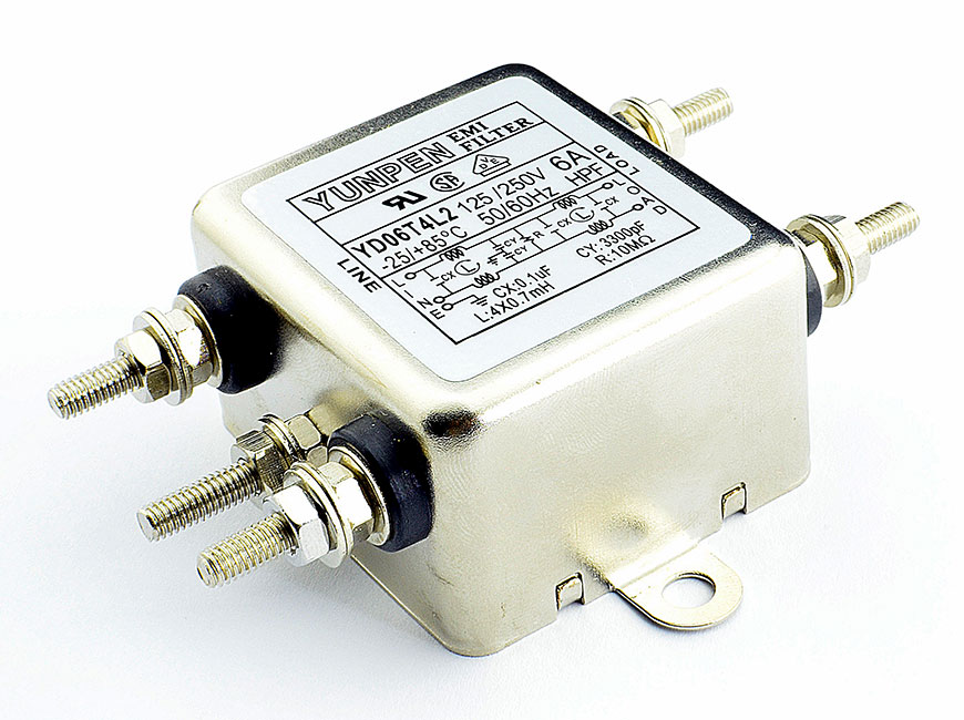M4 screw terminal YD-T4L2 is the single phase one-stage filter for general purpose.