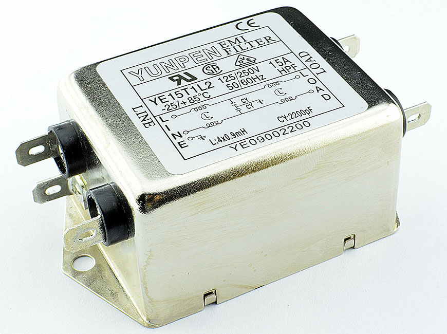 Fast-on connection YE-T1L2 is the single phase two-stage filter for general purpose.