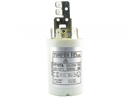 Fast-on Terminal Household Applications Filters YT-TA-H - Compact easy to mount cylindrical filter.