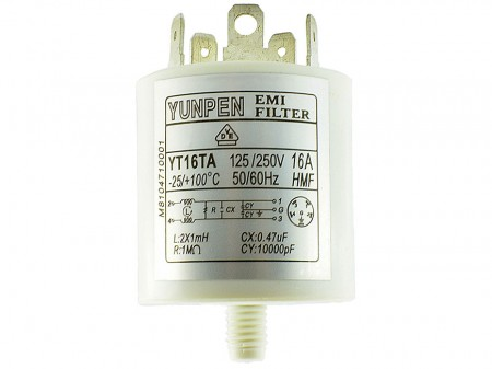 Fast-on Terminal Household Applications Filters YT-TA-M8 - Compact easy to mount cylindrical filter.