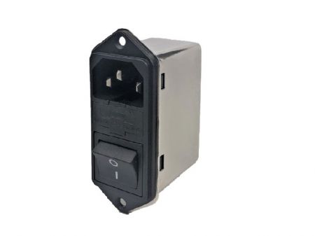 Fast-on Terminal Power Entry Module Filters YQ-A1-S2 - All new Power entry model filters with compact size in top-bottom flange assembly structure.  3-in-1 design with IEC inlet, a mains filter with dual-fuse holder and a 2-pole rocker switch.